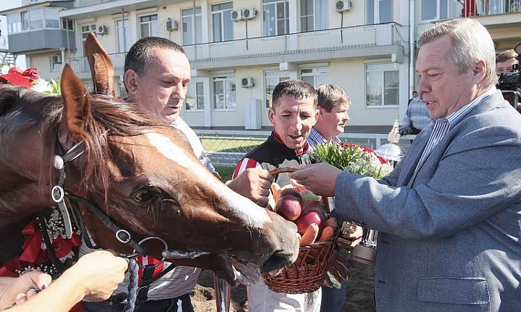 Василий Голубев вручил кубок губернатора победителю скачек на Ростовском ипподроме