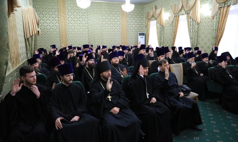 Преосвященнейший епископ Симон возглавил годовое собрание духовенства Шахтинской епархии
