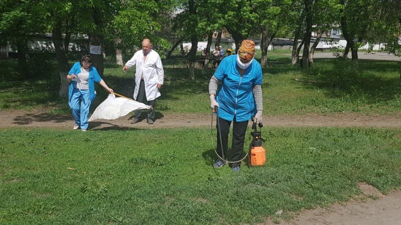 В поселке Аютинский г.Шахты провели противоклещевую обработку