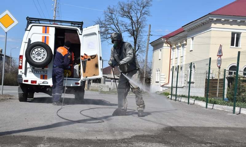 Шахтинские спасатели провели санобработку общественных мест и социально значимых объектов